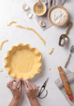 Mãos, mulheres, trabalhando, com, massa, preparação, receita, pão