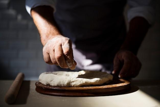 Mãos, preparar, pão