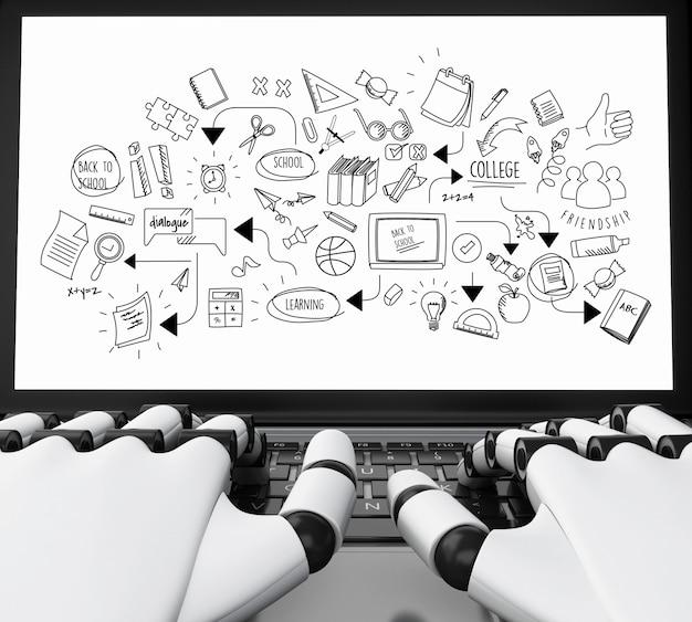 Mãos robóticas 3d, digitando em um laptop com esboço de educação