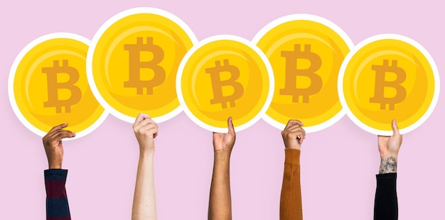 Mãos, segurando, bitcoins, clipart