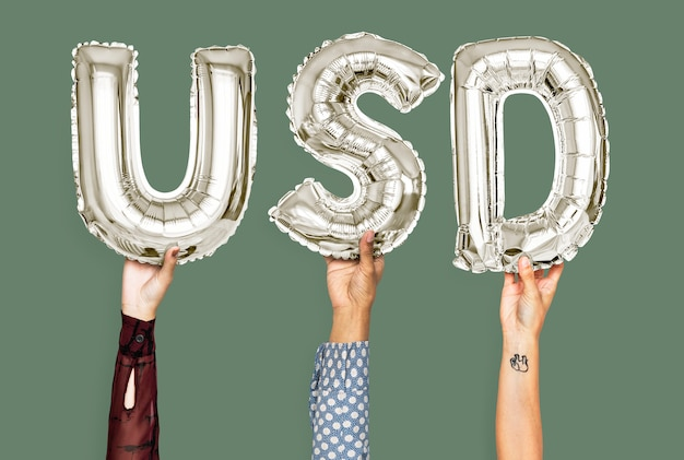 Mãos, segurando, dólar, palavra, em, balloon, letras