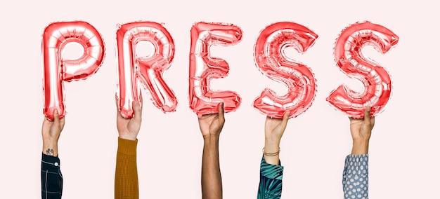 Mãos, segurando, imprensa, palavra, em, letras balão