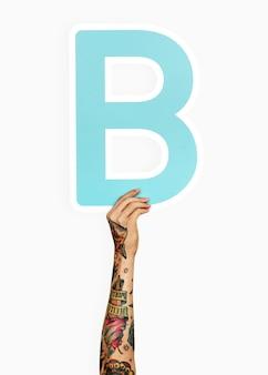 Mãos, segurando, letra b