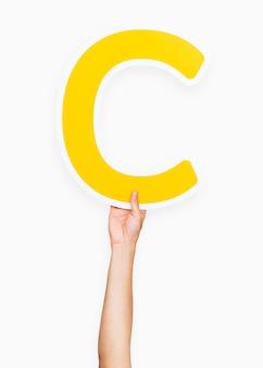 Mãos, segurando, letra c