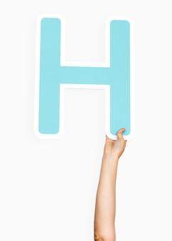 Mãos, segurando, letra, h