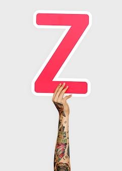 Mãos, segurando, letra, z