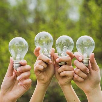 Mãos, segurando, luz, bulbos