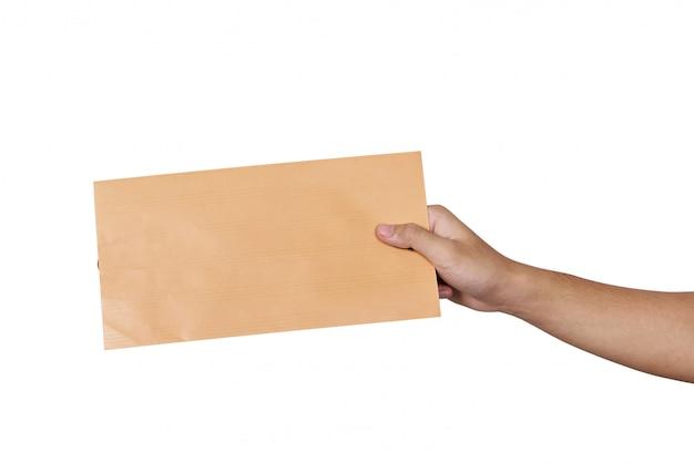 Mãos, segurando, marrom, envelope