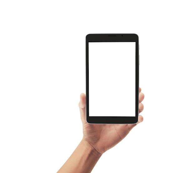 Mãos segurando o tablet touch gadget de computador com tela isolada