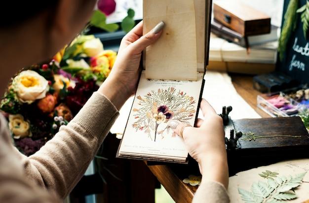 Mãos, segurando, secado, livro flor