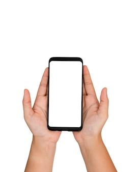 Mãos, segurando, telefone pilha, branco, tela, e, isolado, fundo