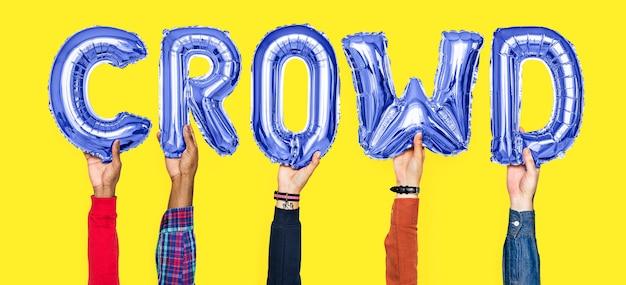 Mãos, segurando, torcida, palavra, em, balloon, letras