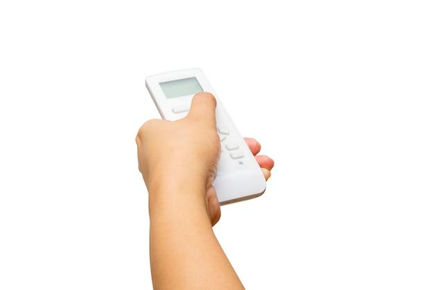 Mãos segurando um controle remoto de corrente alternada