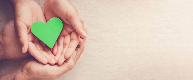 Mãos segurando um coração verde, vegetariano vegan, conceito de vida sustentável