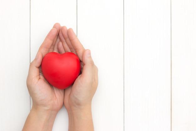 Mãos segurando um coração vermelho, cuidados de saúde, conceito de seguro. dando amor para o dia dos namorados.