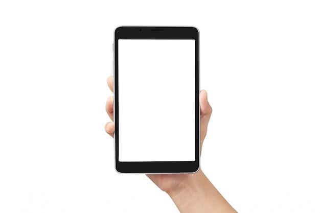 Mãos segurando um gadget de computador tablet com isolado