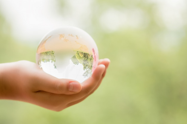 Mãos segurando um globo de vidro na floresta verde