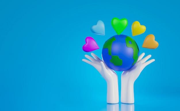 Mãos segurando um mundo com coração colorido, dia mundial do coração