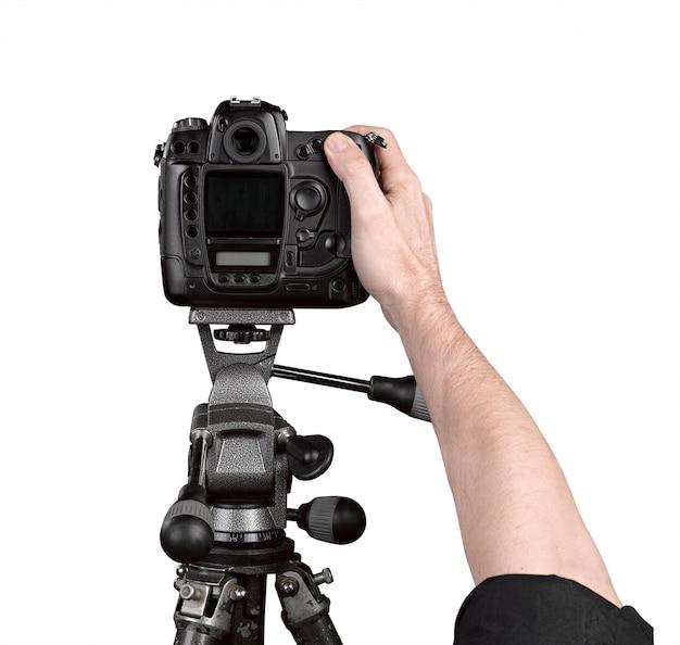 Mãos, segurando, um, profissional, câmera