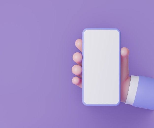Mãos segurando um smartphone em fundo roxo. estilo de desenho animado. renderização de ilustração 3d.