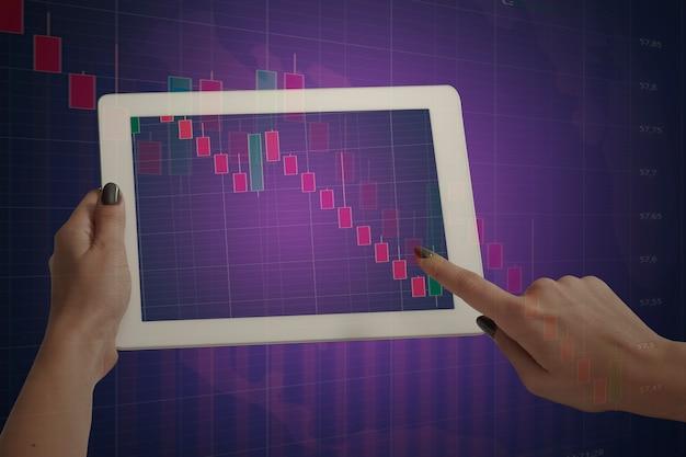 Mãos segurando um tablet mostrando gráficos descendo. dupla exposição com gráficos, digital. alerta de vírus, pandemia de coronavírus, crise, desemprego. epidemia do covid19. colapso dos mercados financeiros.