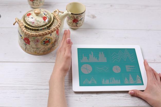 Mãos segurando um tablet na mesa de madeira com chá