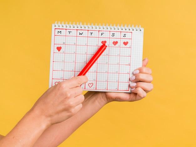 Mãos segurando uma caneta vermelha e período calendário vista frontal