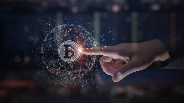 Mãos tocando criptomoeda bitcoin blockchain