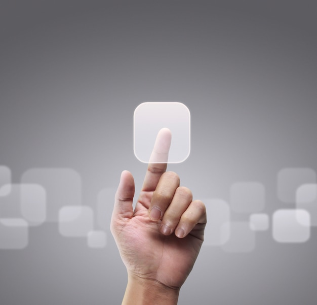 Mãos tocando interface de tela de botão conexão global rede de clientes