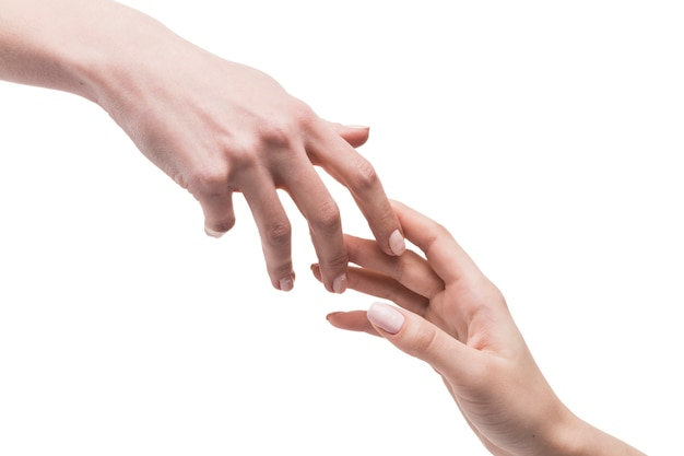 Mãos tocando-se suavemente