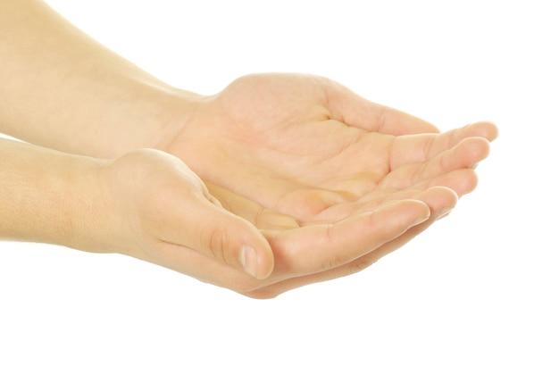 Mãos vazias isoladas em uma superfície branca
