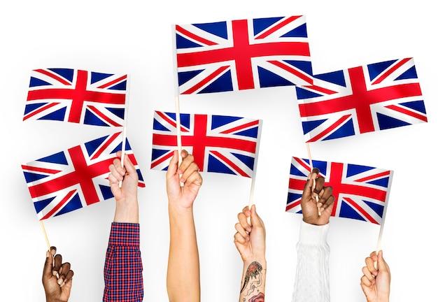 Mãos, waving, a, união jack