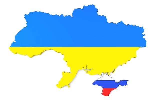 Mapa 3d da cor da bandeira da ucrânia e da rússia