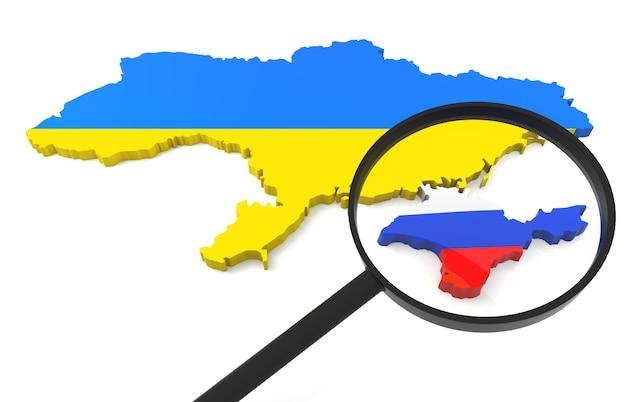 Mapa 3d da ucrânia e da crimeia com lupa