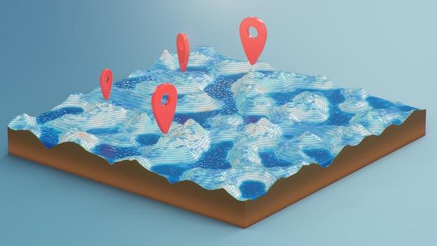 Mapa 3d de seção transversal com marcadores de ponto vermelho