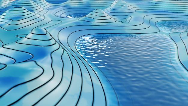 Mapa 3d topográfico com água. linhas de contorno em um mapa topográfico