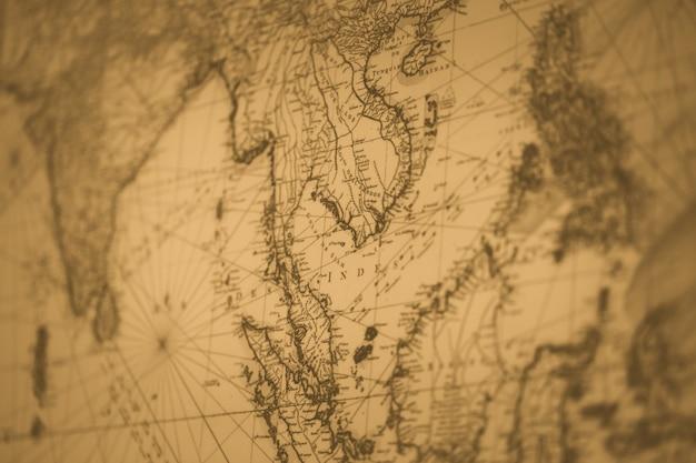 Mapa antigo tom de cor vintage ou sião tailândia para plano de fundo