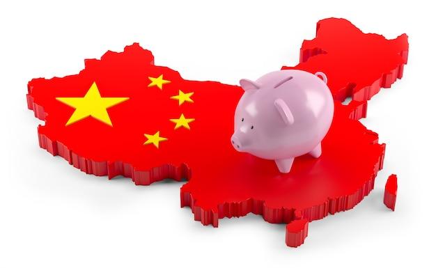 Mapa da bandeira da china no cofrinho. ilustração 3d