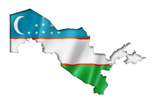 Mapa da bandeira do uzbequistão