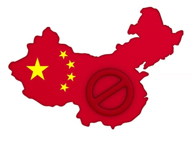 Mapa da china em branco