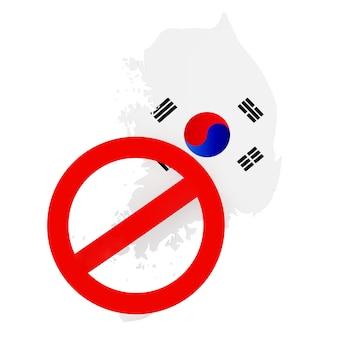 Mapa da coreia do sul com a bandeira e o sinal vermelho de proibição sobre um fundo branco. renderização 3d