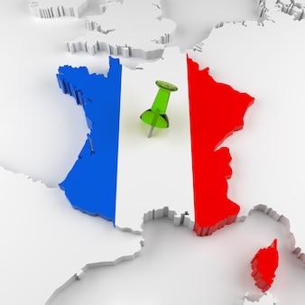 Mapa da frança com bandeira. renderização 3d