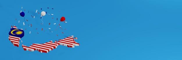 Mapa da malásia para mídia social e capa do plano de fundo do site para comemorar o dia nacional de compras e o dia da independência nacional em renderização 3d