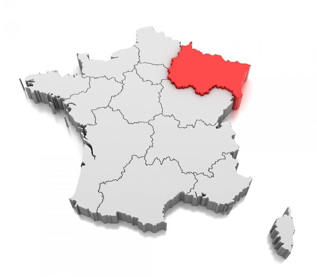 Mapa da região de grand est, frança
