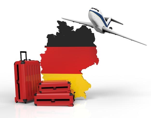 Mapa de aviões e malas ao redor da alemanha