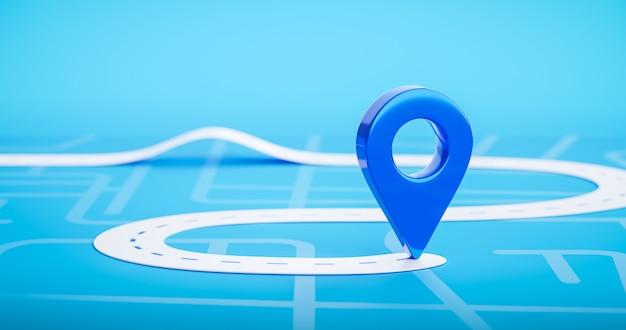 Mapa de estrada do símbolo de ícone de pino de localização azul ou marcador de navegação de rota de viagem gps e sinal de rua de direção de ponteiro de lugar de transporte no fundo da cidade com a maneira de destino de transporte. 3d render.
