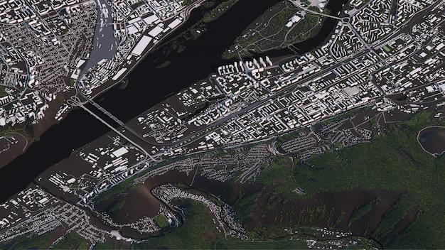 Mapa de krasnoyarsk em 3d estradas de paisagem isométrica e edifícios