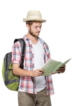 Mapa de leitura jovem homem