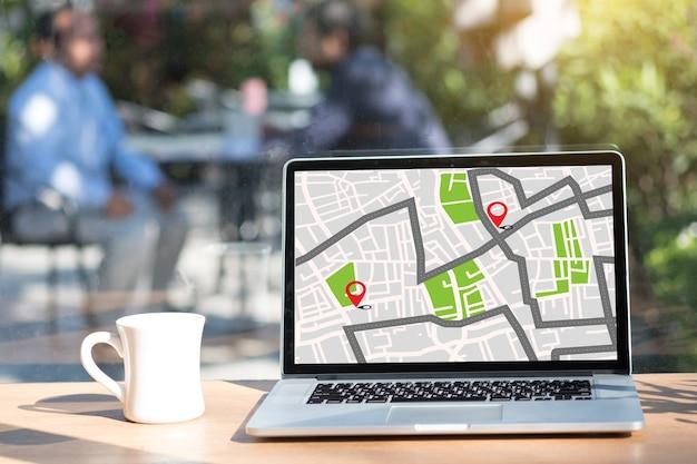 Mapa de localização de localização com ícones de gps naviga