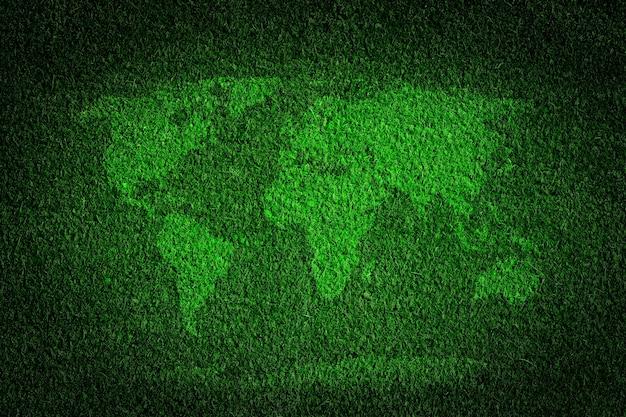 Mapa de mundo feito com grama